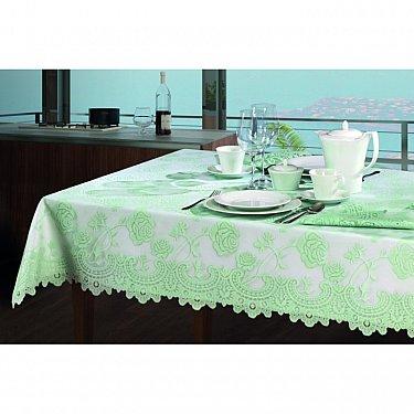 Скатерть с накладкой №3454, белая, салатовая