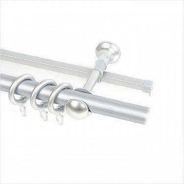 Карниз металлический с элементами из металлизированной пластмассы, 2-рядный, серебро матовое, 280 см, ø28 мм