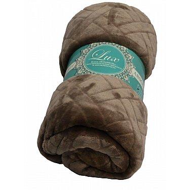 Плед фланель Absolute Lux однотонный стриженный Плетенка, какао, 150*200 см