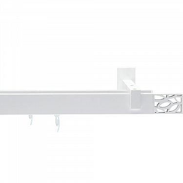 """Карниз металлический """"Хай-тек Шарм"""", 2-рядный, 101 белый матовый, 240 см, ø 34*13 мм"""