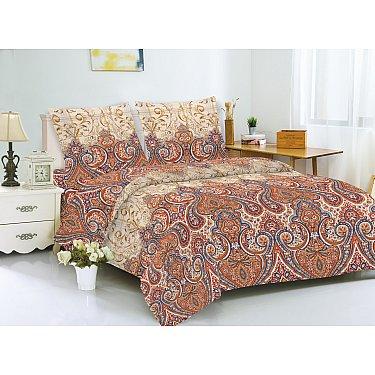 КПБ мако-сатин печатный Linda (2 спальный), коричневый