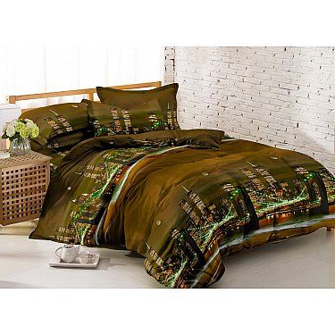 КПБ мако-сатин печатный Night (1.5 спальный), коричневый