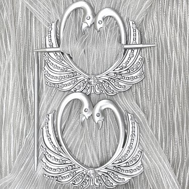 Подхват-заколка MI C8-1 lebedi, серебро