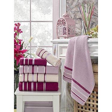 Комплект махровых полотенец TexRepublic Cotton Line, фиолетовый
