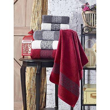 Комплект махровых полотенец TexRepublic Cotton Barok, марсала