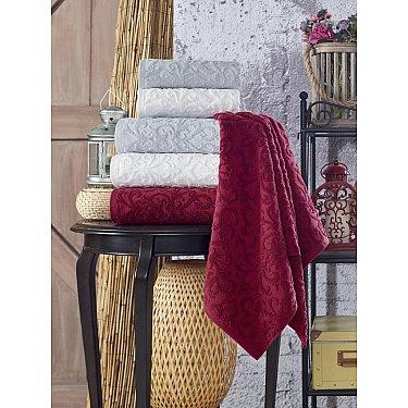 Комплект махровых полотенец TexRepublic Cotton Piramid, марсала