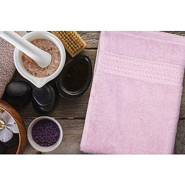 Полотенце махровое однотонное с бордюром Clasic, розовый