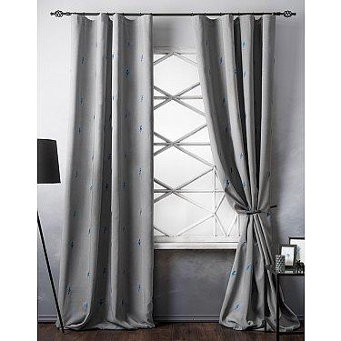 Комплект штор с вышивкой Флэш, серый, 145*280 см