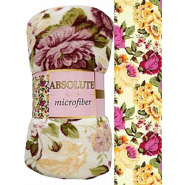 "Плед микрофайбер Absolute ""Цветы гобелен"", молочный, 150*200 см"