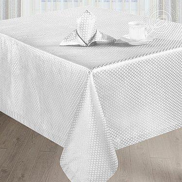 """Скатерть с салфетками """"Мелисса"""", квадратная, белый, 150*150 см"""