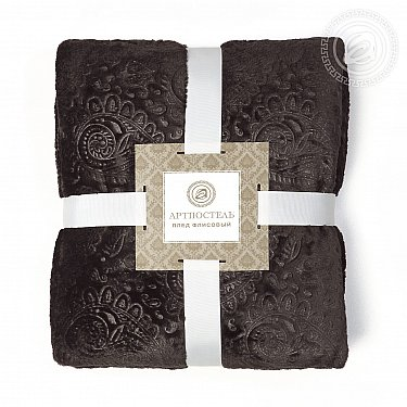"""Плед флисовый """"Огурцы"""", шоколад"""
