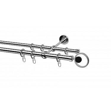 Карниз металлический Arttex с наконечником №109, 2-рядный, хром, ø 20 мм, ø 16 мм