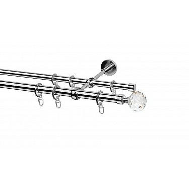Карниз металлический Arttex с наконечником №65, 2-рядный, хром, ø 20 мм, ø 16 мм