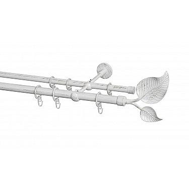 Карниз металлический Arttex с наконечником №79, 2-рядный, белое золото ампир, ø 20 мм, ø 16 мм