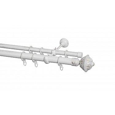 Карниз металлический Arttex с наконечником №247, 2-рядный, белое золото ампир, ø 28 мм, ø 20 мм