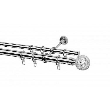 Карниз металлический Arttex с наконечником №248, 2-рядный, хром, ø 28 мм, ø 20 мм