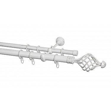 Карниз металлический Arttex с наконечником №250, 2-рядный, белое золото ампир, ø 28 мм, ø 20 мм