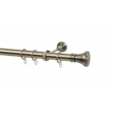 Карниз металлический Arttex с наконечником №251, 1-рядный, золото антик, ø 28 мм
