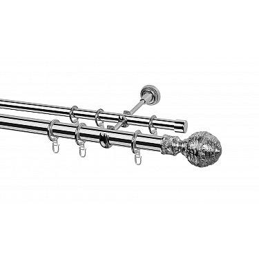 Карниз металлический Arttex с наконечником №255, 2-рядный, хром, ø 28 мм, ø 20 мм