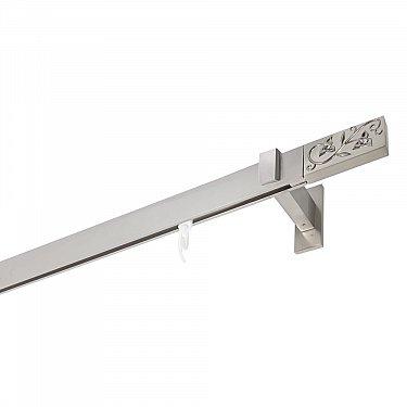 Карниз алюминиевый Хай-тек с наконечником Узоры, 1-рядный, сатин, ø 32*12 мм