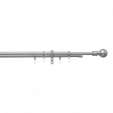 """Карниз телескопический """"Телескоп Шар"""", 2-рядный, 160-310 см, 590 серебро матовое"""