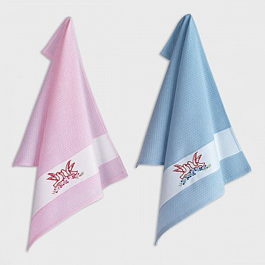 Набор кухонных полотенец с вышивкой Arya Birdy-1, 45*65 см - 2 шт