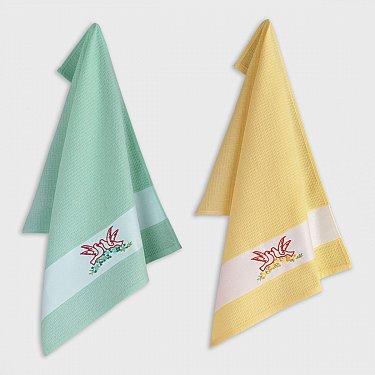 Набор кухонных полотенец с вышивкой Arya Birdy-2, 45*65 см - 2 шт
