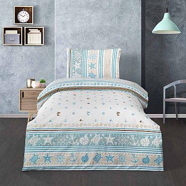 КПБ подростковое ранфорс Arya Alesta (1.5 спальный), белый, бирюзовый