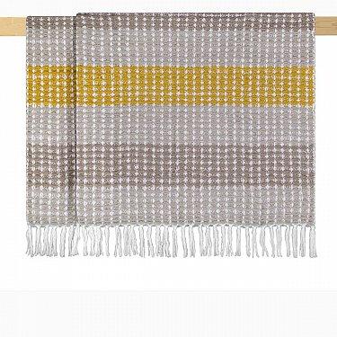 Плед шерстяной Arya Ameya, желтый с коричневым, 125*150 см