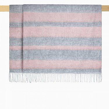 Плед шерстяной Arya Sansa, розовый с серым, 125*150 см