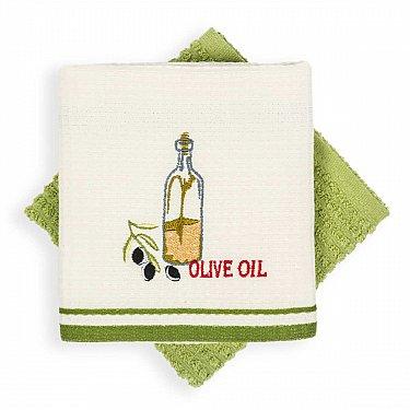 Набор кухонных полотенец Arya Olive, экрю, зеленый, 40*60 см - 2 шт