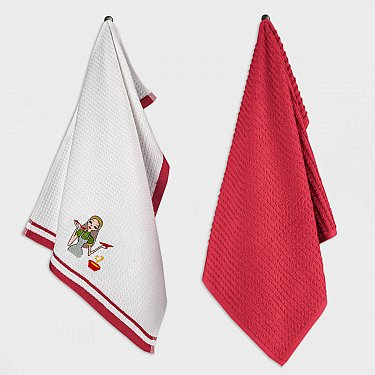 Набор кухонных полотенец Arya Taste, белый, красный, 40*60 см - 2 шт