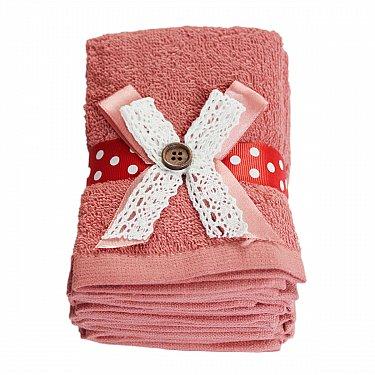 Набор полотенец с лентой Arya Button, кирпичный, 30*30 см - 6 шт