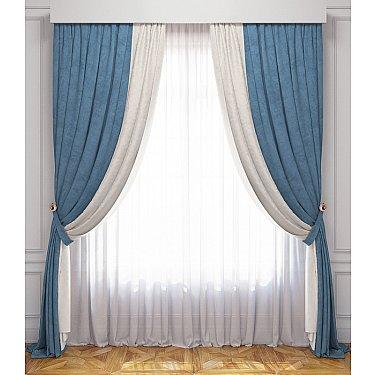 Комплект штор Латур, бело-голубой