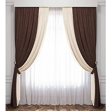 Комплект штор Латур, сливочный, венге