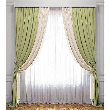 Комплект штор Латур, сливочно-зеленый
