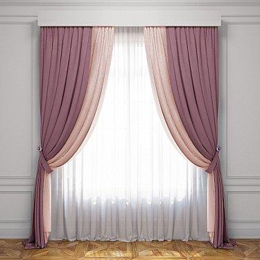 Комплект штор Латур, розовый, светло-розовый