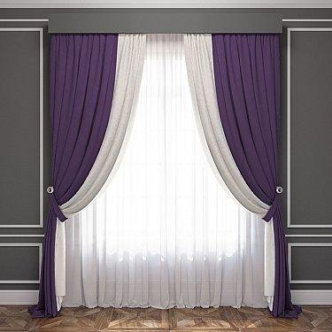 Комплект штор Латур, баклажановый, белый
