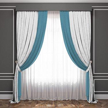 Комплект штор Латур, белый, бирюзовый
