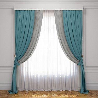 Комплект штор Латур, бирюзовый, серый