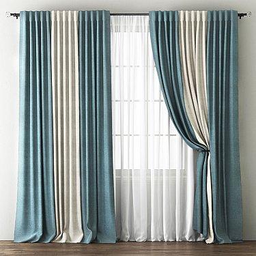 Комплект штор Кирстен, голубой, кремовый