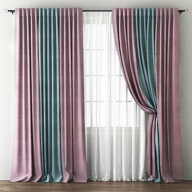 Комплект штор Кирстен, розовый, голубой