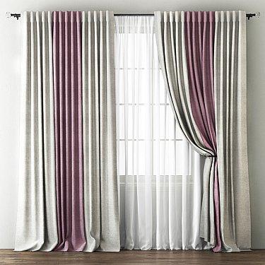 Комплект штор Кирстен, кремовый, розовый