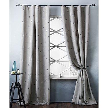 Комплект штор с вышивкой Прайм, серо-бежевый, 145*280 см