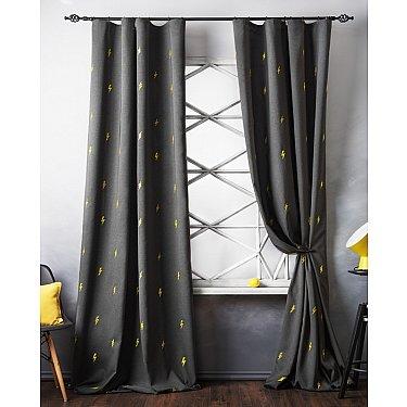 Комплект штор с вышивкой Флэш, мокрый асфальт, 145*280 см