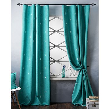 Комплект штор с вышивкой Флэш, бирюзовый, 145*280 см