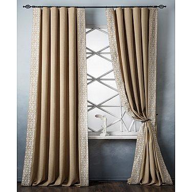 Комплект штор с вышивкой Дюпон, горчичный, 200*280 см