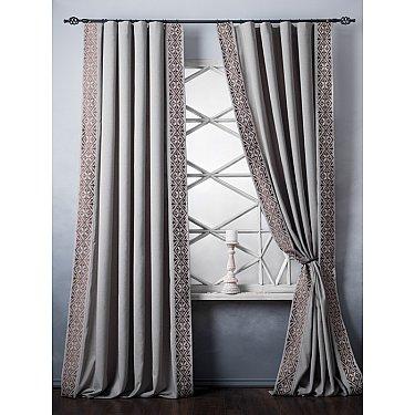 Комплект штор с вышивкой Дюпон, бежево-серый, 200*280 см