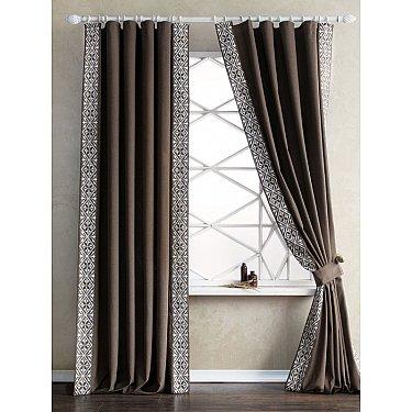 Комплект штор с вышивкой Дюпон, коричневый, 200*280 см