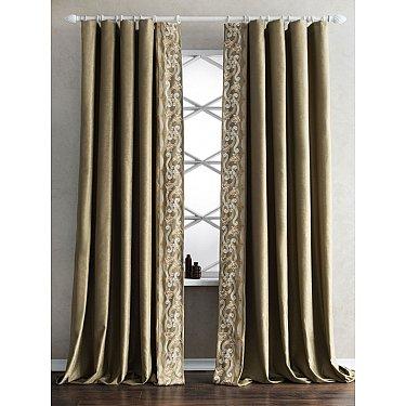 Комплект штор с вышивкой Валери, зеленый, 200*270 см